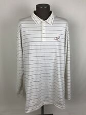 Nike Golf L/S Athletic Polo Shirt Mens SZ XXL White/Maroon Stripe Spandex D41