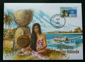 [SJ] USA Northern Mariana Islands 1994 Beach Coconut Tree FDC (coin cover)