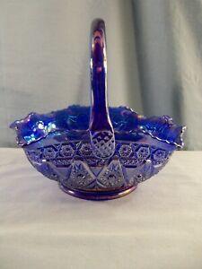 "L. E. Smith Cobalt Blue Carnival Glass DIAMOND LACE Pattern Basket - 7 1/2"" Tall"