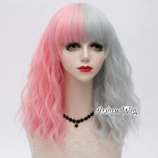 45CM Lolita Fluffy Curly Pink Mixed Gray Ombre Halloween Cosplay Wig+Cap