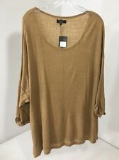 NEW LOOK WOMEN'S 1/2 SLEEVE C&S RIBBED JUMPER TOP Lip GHY BROWN UK:26/US:22 NWT