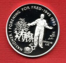More details for norway 1995 united nations, fifty krone proof silver coin. 16.85 grams, 32 mm.