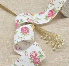 3M Flower Jute Burlap Hessian Ribbon Floral Print Fabric Trimming Home Decor
