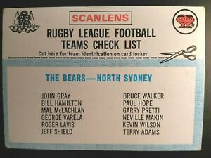 1977 SCANLENS RUGBY LEAGUE CHECKLIST, NORTH SYDNEY, UNCHECKED CHECK LIST NRL