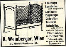 K.Weinberger Wien EISENMÖBEL UND BETTWAREN Wiener Annonce 1910