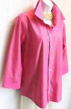 LIZ CLAIBORNE Pink Crisp Cotton Shirt Sz 10 Button Up Blouse Career NON-iRON Top