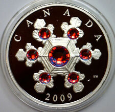 CANADA 2009 $20 CRYSTAL SNOWFLAKE SILVER COIN  1 Oz RED ELEMENTS  COA