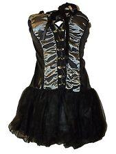 SEXY NEW BLACK ANGEL DRESS UP COSTUME FANCY DRESS CORSET DRESS & THONG ~ SZ 8/10
