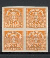 Austria 1920 Sc# P39 imperf Mercury 20h Manarchy newspaper block 4 MNH