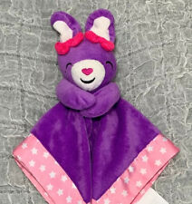 """Fisher Price Purple Bunny Rabbit Security Blanket Pink Stars Bow Lovey 12"""" x 12"""""""