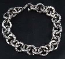 "48g 8"" ARTISAN TRIBAL DRAGON RINGS MENS BRACELET CHAIN 925 STERLING SILVER"