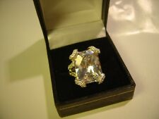 MASSIVE SOLID SILVER BAND RING-WITH OBLONG SPARKLY STUNNING CUBIC-SIZE N QUALITY