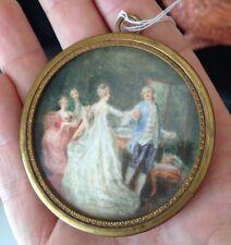 Ancienne Miniature Médaillon Scéne Galante style XVIIIeme