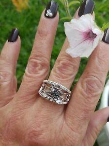 Black Tourmaline & Topaz Spider W/ Web Band Ring, Sterling silver, sz 7