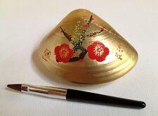 Japanese 'Beni-iri Awase-gai' Painted Seashell Kyobeni Lipstick Red Plum Blossom