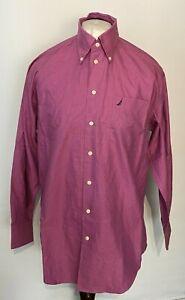 "NAUTICA Men's Casual Shirt Purple 15.5"" 32/33 Oxford Long Sleeve 100% Cotton"