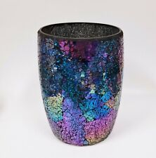 NEW IRIDESCENT COBALT BLUE+TEAL+PURPLE GLASS MOSAIC WASTE BASKET,TRASH CAN