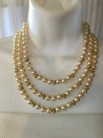 Vintage Pearl Triple Strand Necklace Costume Gold Tone