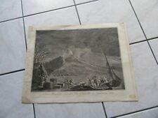 GRANDE GRAVURE VOLCAN  ITALIE VUE DU VESUVE EN 1757 NAPLES