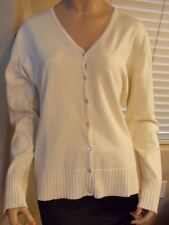 LAURA ASHLEY V-Neck CARDIGAN Sweater ALMOND Cream Seed Pearl edge Ribbed Cuffs L