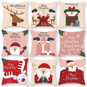 Merry Christmas Cushion Cover Xmas Pattern Throw Pillow Case DIY Home Decor 45cm