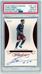 Lionel Messi Signatures Ruby On-Card Auto /15 2016 Panini Flawless PSG FC Barca
