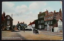 SWEASEY COLOUR POSTCARD BOY-OPEN TOP MOTORCAR-SHOPS-THE SQUARE-WICKHAM 1912