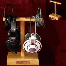 Wooden Dual Headphone Stand Holder Earphone Hanger Headset Display Rack Bracket