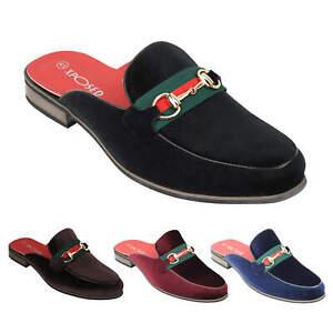 Mens Velvet Half Loafers Horsebit Buckle Slippers Smart Casual Slip on Shoes