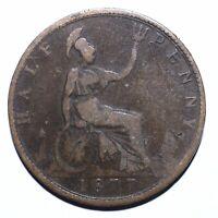 1877 United Kingdom (UK) Half 1/2 Penny - Victoria 2nd portrait - Lot 212