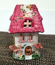 Ceramic Tea Light Candle Holder - Small Pink Villa w/Hanging Butterflies