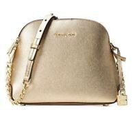 MK Michael Kors Mercer MD Dome Messenger PALE GOLD Leather Shoulder Bag Purse