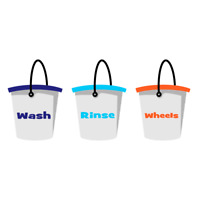 Detailing Wash, Rinse & Wheels Bucket Stickers | Car Cleaning | Valeting