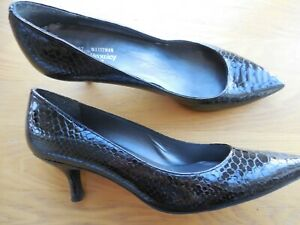 RUSSELL & BROMLEY BLACK PATENT LEATHER COURT SHOES-SIZE 6.5 UK 40 EUR