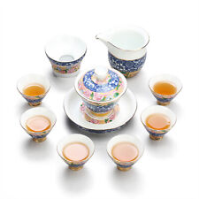 Jingdezhen color enamel kungfu tea set porcelain  pitcher gaiwan cup bowl