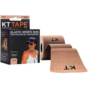 """KT Tape Cotton 10"""" Precut Kinesiology Therapeutic Sports Roll, 20 Strips, Beige"""