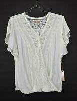 Jessica Simpson Nursing Women White Surplice Neck Flutter Sleeve Lace Wrap Top S