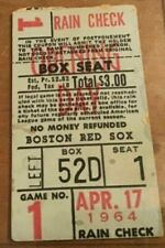 1964 Ticket Tony Conigliaro 1st HR Opening Day Boston Red Sox/JFK GM Fenway Vg