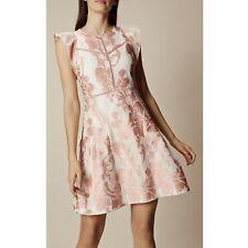 Size 12 UK Exquisite KAREN MILLEN Pink Floral Jacquard Cocktail Party Mini Dress