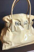 100% Authentic VALENTINO GARAVANI Bag Pearlized Yellow Patent Leather Italy