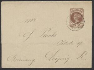 1895 Newfoundland #W3 3c Post Band Used, St John's CDS, Addressed to Germany