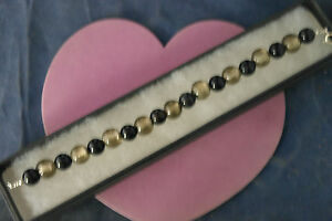 Beautiful Bracelet With Onyx Gemstone And Murano Class  8 Cm.Long In  Box