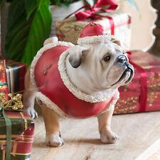Christmas Bulldog Decorative Ornament Dog Statue Figure Gift Festive Decoration
