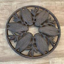Vintage brown Cast iron french Trivet france CICADA OLIVES 2507202
