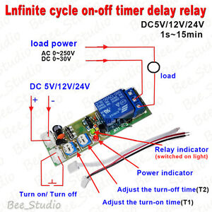 DC 5V 12V 24V Infinite Cycle Delay Timer Relay ON OFF Loop Time Switch Module