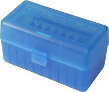 NEW MTM 50 Round Flip-Top 220 Swift 243 308 Win Ammo Box - Clear Blue