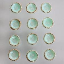 12 Vintage Oro Borde Luz Menta Verde Cupcake Forma Diseño Plástico Botones 12mm