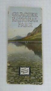 Antique Great Northern Railroad Brochure Glacier National Park Aeroplane Map