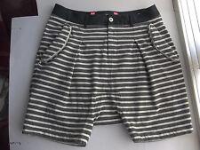 "Shorts GENERAL IDEA Black Gray White Striped Cotton Size L (EU50) 36"" waist"