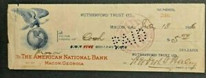 ANTIQUE 1916 RUTHERFORD TRUST CO MACON GA $5 CHECK -GREAT COLLECTIBLE!-d3887dth